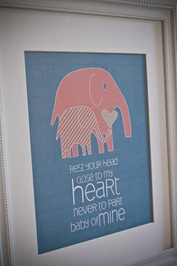 Instant Download: Digital 8x10 nursery print baby mine elephants in turquoise and coral