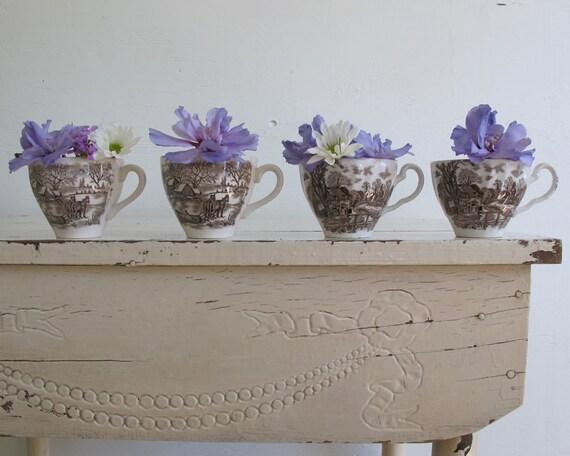 RESERVED /// Vintage Brown Teacup Vases, Rustic Wedding Decor, Set of Four