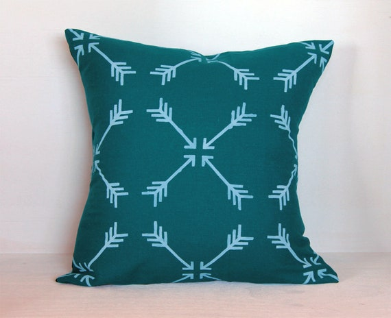 Teal Hand Stenciled Linen Pillow Cover