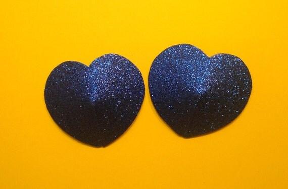 Blue glittery heart  shaped pasties
