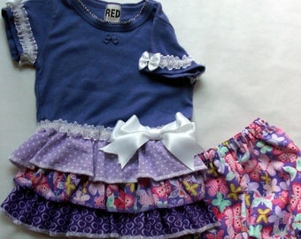 Girl's medium/size 5-6, t-shirt dress with matching bloomers