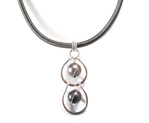 Shades of Gray Black Tahitian Pearl Necklace Sterling Silver Jewelry with Silk Cord