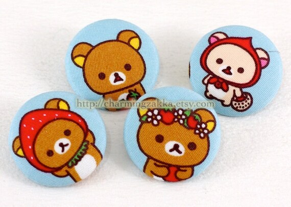 Fabric Covered Buttons (L) - Kawaii Rilakkuma and Friends, Strawberry Picnic Day (4Pcs, 1.1 Inch)