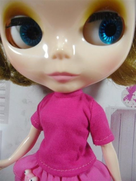 Handmade outfit for Blythe doll deep pink Tee shirt
