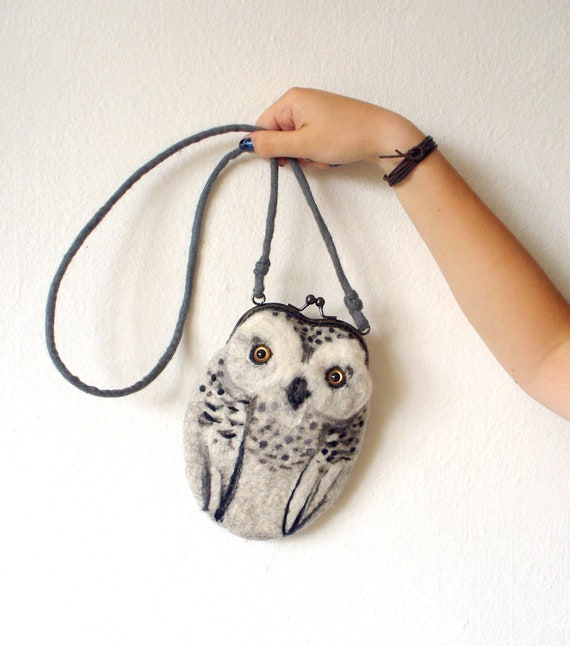 snowy OWL  Wet Felted  coin purse Ready to Ship with bag frame metal closure RESERVED FOR Melissa