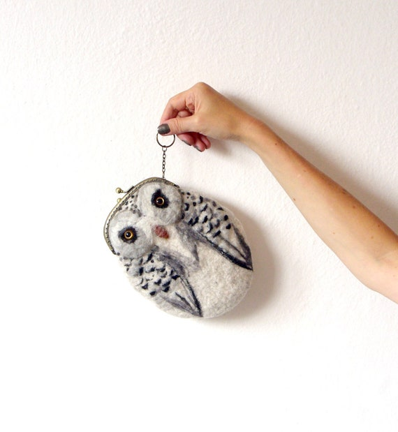 snowy OWL Wet Felted coin purse Ready to Ship with bag frame metal closure Handmade  gift