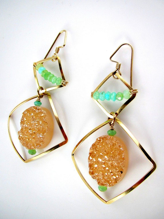 LP 773 Champagne Drusy,  Blue Peruvian Opal and 14K Gold Filled Earrings