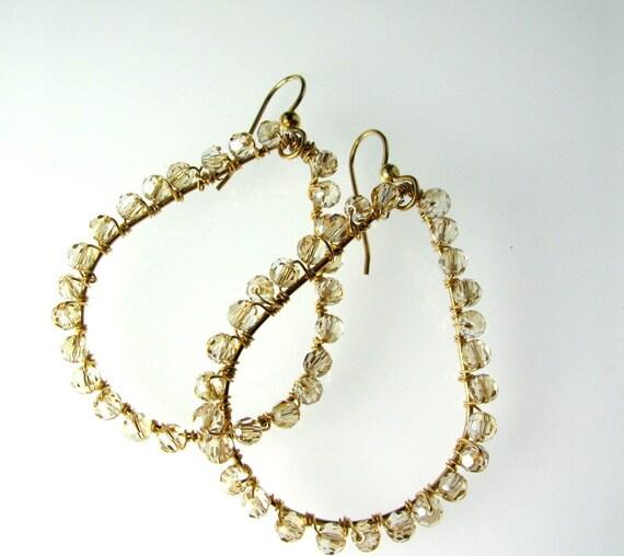 LP 410 Sparkling Light Topaz Swarovski Crystals and 14K Gold Filled Teardrop Earrings