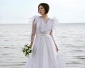 Wedding Dress White ruffled Tulle with Lace Veil - RESERVED please do not purchase