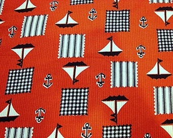 Vintage Fabric 1970s Nautical Print Sewing Fabric Red White Navy Nautical Fabric Sailboats Anchor
