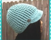 Blue Green Newsboy Ladies Hat Crochet  Handmade with silver buttons etsy