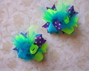 NEON--Hair Bows Set of 2---Mini Funky Fun Over the Top Bows---Neon lime, purple and turquoise