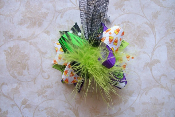 Classic Halloween---Hair Bow---MINI Funky Fun Over the Top Bow---