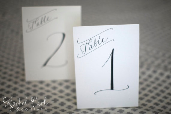 Wedding Reception Table Numbers Black Ink Hand Written with Modern Font in White Cream Kraft or Black Table Card Color