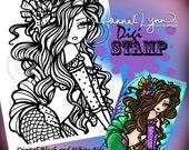 PRINTABLE Digi Stamp Sharla Mermaid Coloring Page Fun Fantasy Art Hannah Lynn