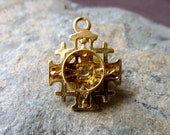 Small Religious Cabochon Cross Pendant Charm - 18x14mm - Gold Plate