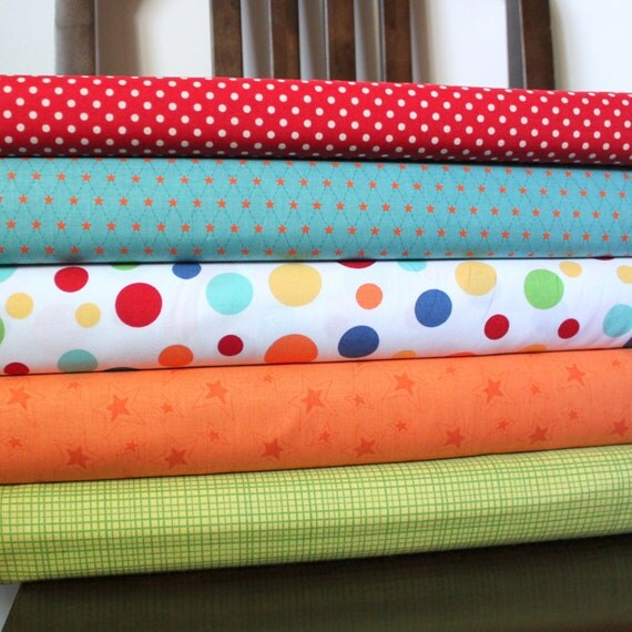 Bright Multi Primary Color Fabric, Dick and Jane for Michael Miller, 1 Yard Bundle, 5 Prints, 5 Yards Total