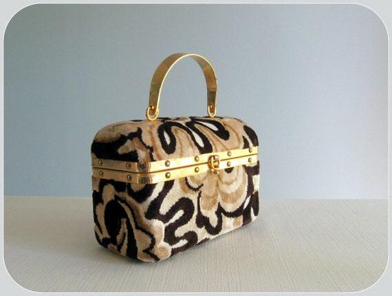 60s box bag /  mod Flower Power chenille treasure box purse ... made in Italy