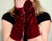 High Tea at Noon-Paisley Silk velvet slouchy fingerless gloves