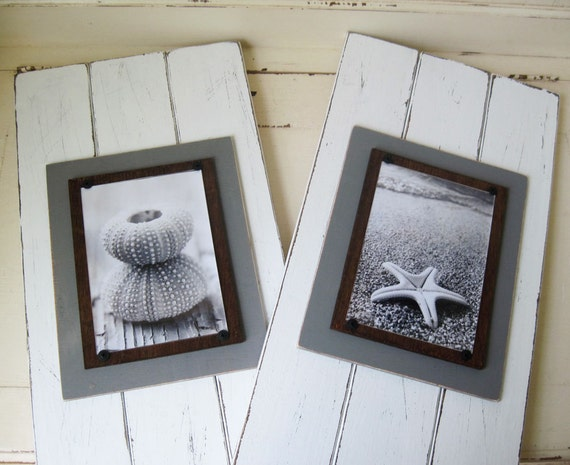 Set of 2 Distressed White Long Wood Plank Frame for 5x7 Picture