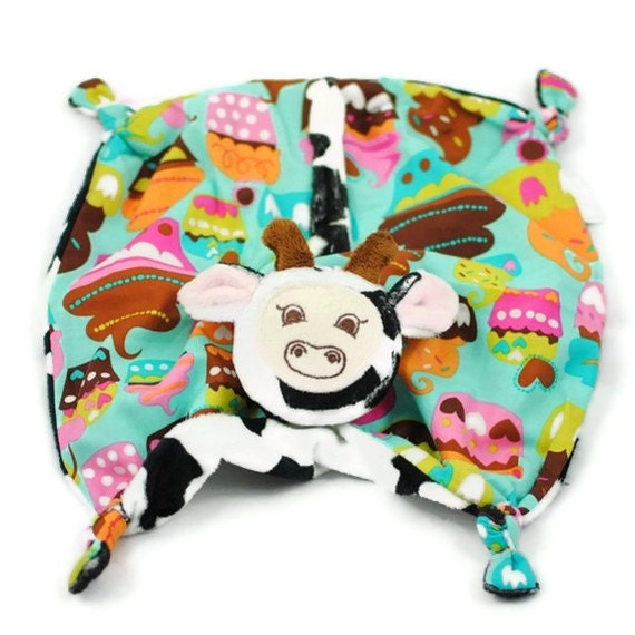 Cow Security Blanket, Baby Blanket, Black and White Minky Cow with Sweet Treats, Soft Baby Toys