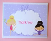 Gymnastic Thank You Cards - Gymnastics, Tumbling Birthday Party Thank You Notes - Set of 10