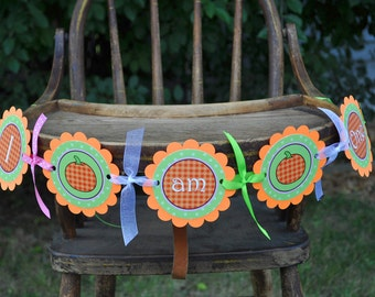 Pumpkin 1st Birthday Highchair Banner - I am One - Halloween Birthday Party Decorations, Little Pumpkin
