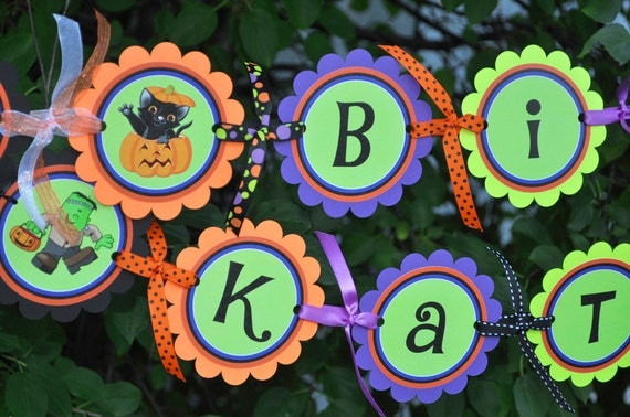 Halloween Happy Birthday Banner - Halloween or Birthday Party Decorations