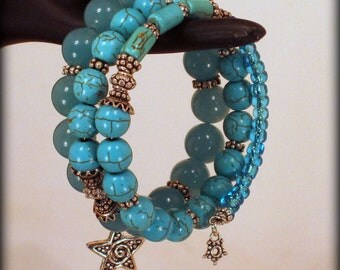 Splash of Blue memory wire bracelet - made with Jade, Turquoise and Sterling Silver