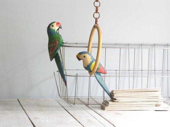 vintage pair of birdcage birds