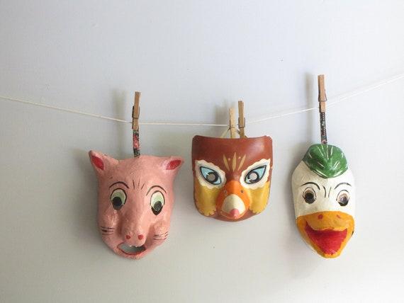 vintage mid century paper mache masks collection