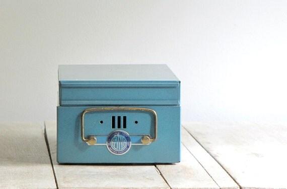 vintage blue index card drawer