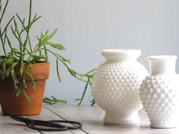 vintage pair of hobnail vases