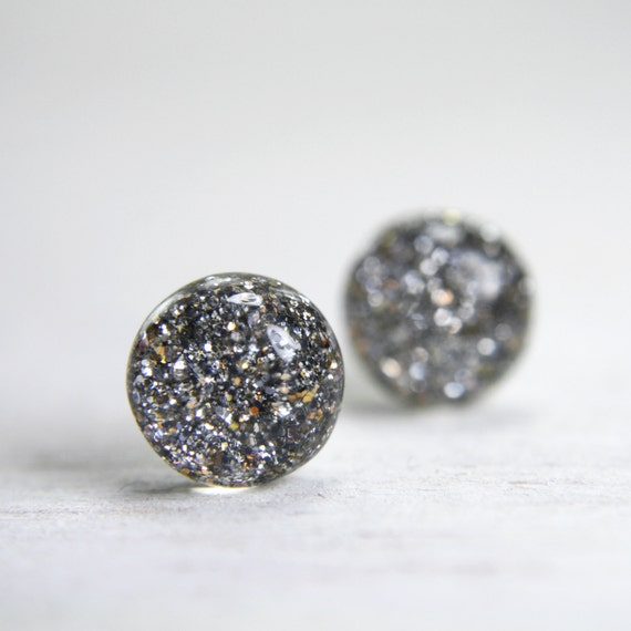 globe earrings in sparkly taupe - 8mm - small everyday round stud earrings
