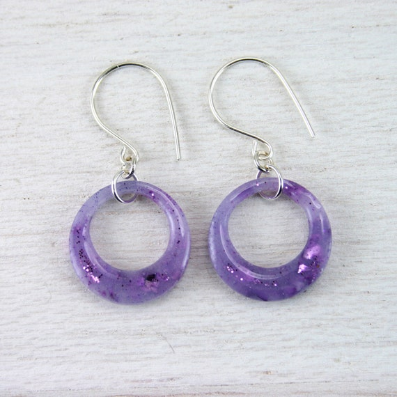 purple leaf hoop earrings on sterling silver