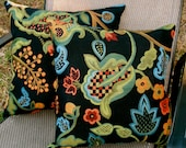 Tapestry Pillows - Black with Coral Blue and Green