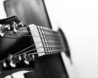 Acoustic Guitar Photography, Let's Play Photo Print, Musical Instruments, Music Decor, Metallic Paper Black and White