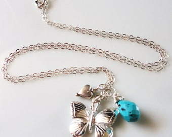 A Heart and A Butterfly - Two Sterling Silver Charms, and Turquoise