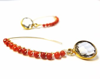 White Topaz and Red Coral Earrings