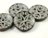 Brown Wooden Buttons - Japanese Style Khaki Mandala pattern Dark Brown Concave Wood buttons. 1 inch, 10 pcs
