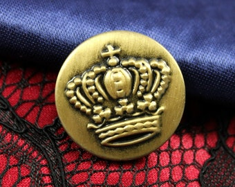 Metal Buttons - Crown Metal Buttons , Brass Color , Shank , 1 inch , 10 pcs
