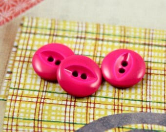 Metal Buttons - Hot Pink Metal Buttons , 2 Holes , 0.39 inch , 10 pcs