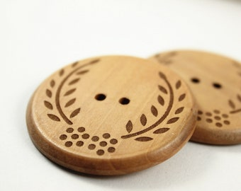 Large Wooden Buttons - Shallow Carving Broad Leaf Grass Natural Wood Large Buttons. 1.90 inch. 6 in a set