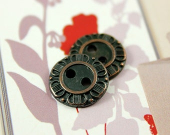 Metal Buttons - Petals Border Metal Buttons , Army Green Color , 2 Holes , 0.51 inch , 10 pcs