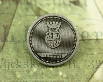Metal Buttons - Shield Emblem Metal Buttons , Antiqued Silver Color , Shank , 0.83 inch , 6 pcs