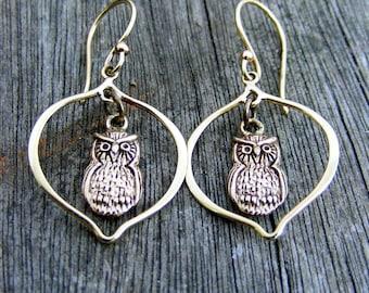 Bronze Owl Earrings - Dangle in the Moon, Owl Dangle Earrings, Gold Owl Earrings, Teacher Jewelry