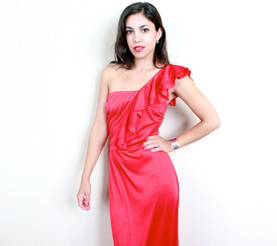 Vintage Full Length One Shoulder Ruffle Red Formal Dress / Cherry Pie