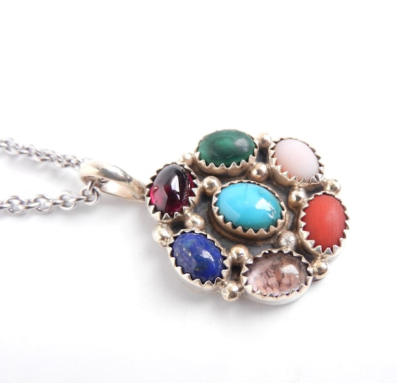 Sterling Silver Precious Stone Necklace - Vintage Colorful Signed Native American Jewelry / Color Wheel