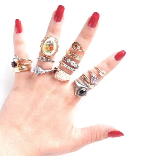 Vintage Ring Lot - Huge Costume Jewelry Destash of 15 Rings... Including Sterling - Stacked Fashion