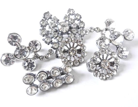 Vintage Rhinestone Brooch Lot - 6 Silver Tone Clear Stone Costume Jewelry / Petite Pins